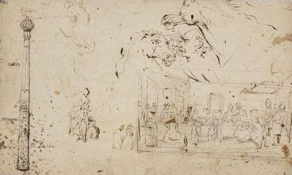 Charles PARROCEL (Avignon 1670- Paris 1739) Feuille d'étude recto-verso : choc de...