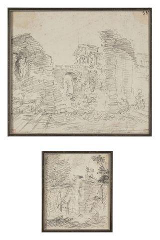 Hubert ROBERT (Paris 1733-1808) Deux paysages...