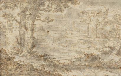 Attribué à Jan Van BLOEMEN (Anvers 1662 – Rome 1749) Paysage classique recto-verso...