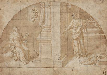Ecole romaine vers 1600 Scène de miracle...