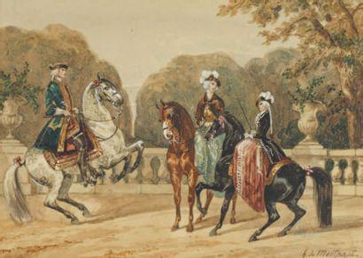 Henry de MONTPEZAT (Né en 1934) Deux amazones et un cavalier sur une terrasse Aquarelle,...