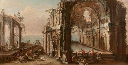 Gherardo POLI (Florence 1676 - Pise 1746) Caprice architectural au carrosse et promeneurs...