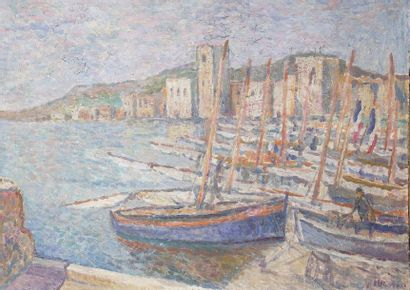 Ecole du XX ème  Le port de Collioure  Huile...
