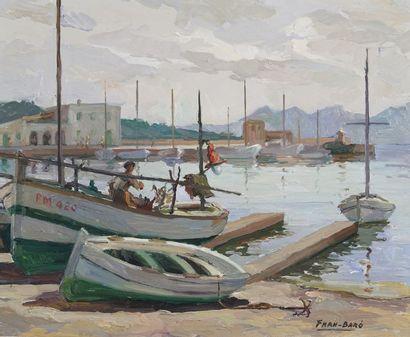 FRAN-BARO (1926-2000)  Petit port de pêcheurs...