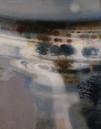 Daniel GÉLIS (Né en 1942)  Rosée bleue  Huile...