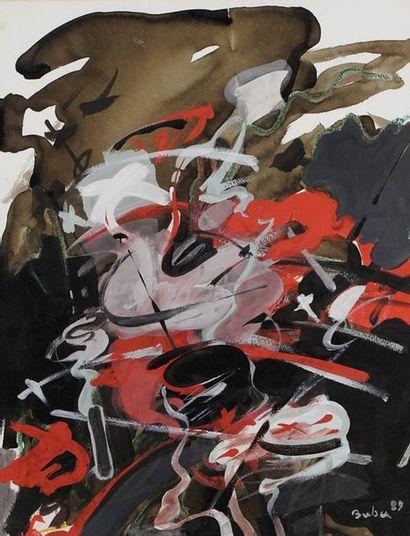 BUBA  Abstraction  Gouache et acrylique sur...