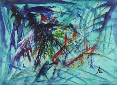 TOMASSO (XX ème)  Abstraction  Huile sur...