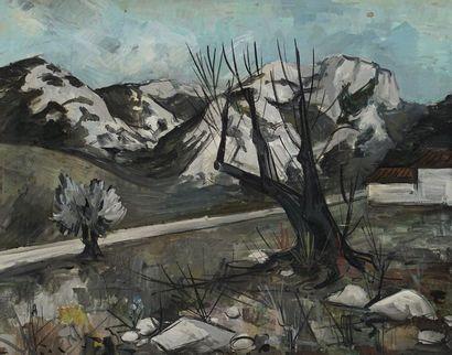 Gérard REGNIER (1940-)  Le chemin  Huile...