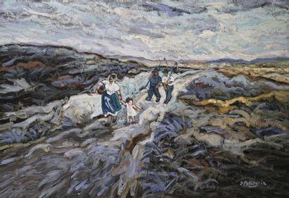 Jacques PELLEGRIN (1944-)  La moisson  Huile...