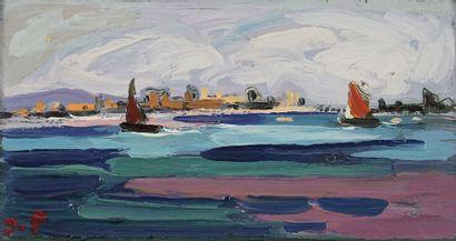 Jacques PELLEGRIN (1944-)  Bord de mer  Huile...