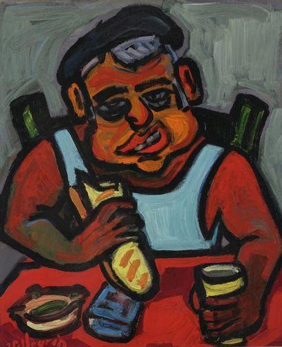 Jacques PELLEGRIN (1944-)  Le déjeuner  Huile...