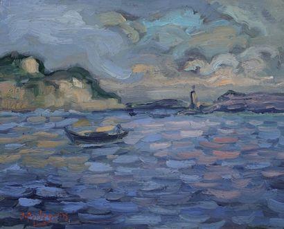 Jacques PELLEGRIN (1944-)  Paysage maritime...