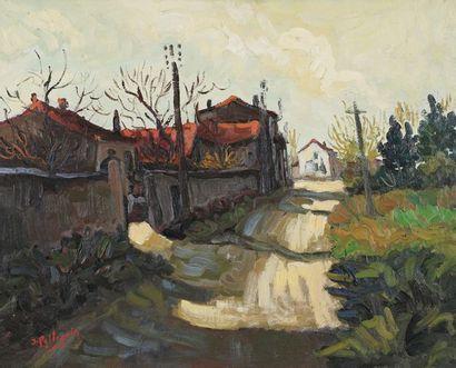 Jacques PELLEGRIN (1944-)  Le village  Huile...
