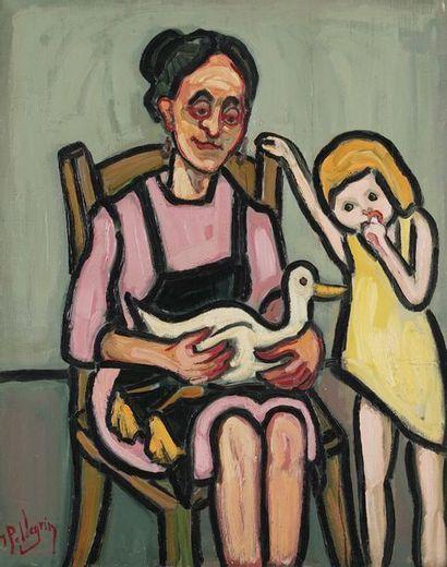 Jacques PELLEGRIN (1944-)  Mère et fille...