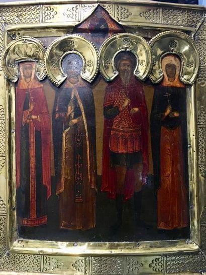 RUSSIE XIX ème  Icône représentant quatre...