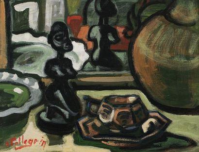 Jacques PELLEGRIN (1944-)  La statuette africaine...