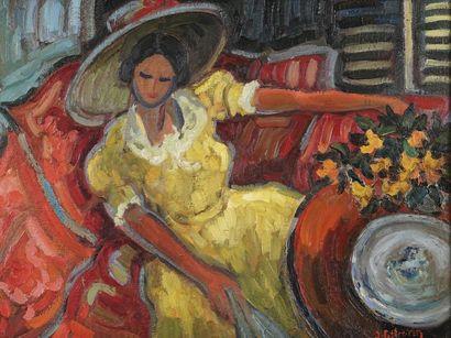 Jacques PELLEGRIN (1944-)  Femme à la robe...