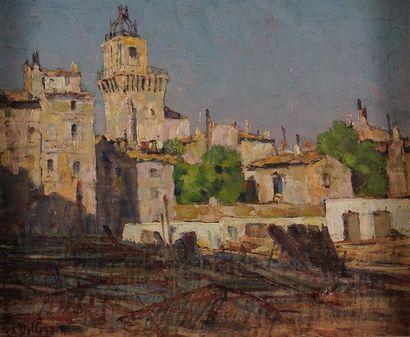 Charles PELLEGRIN (XIXème)  Place de village...
