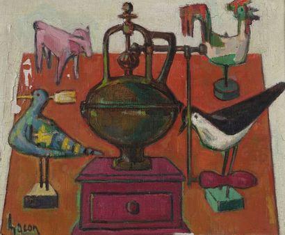 Anne GACON (1913-)  Le moulin à poivre  Huile...