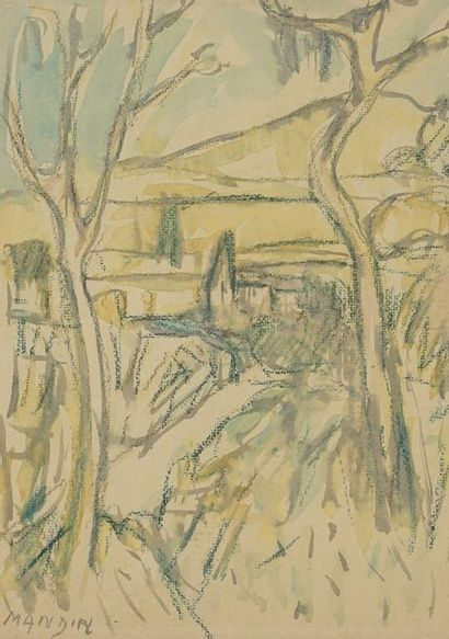 Richard MANDIN (1909-2002)  Paysage  Aquarelle...