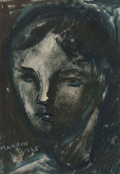 Richard MANDIN (1909-2002)  Visage  Encre...