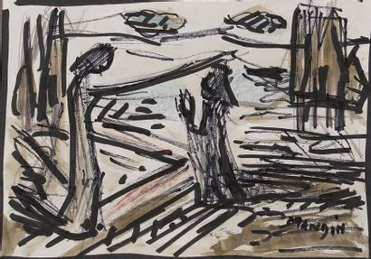 Richard MANDIN (1909-2002)  Aquarelle et...