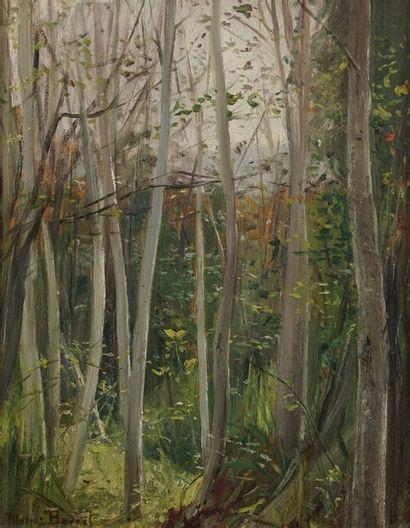 Marius BARRET (1865-1929)  La forêt  Huile...
