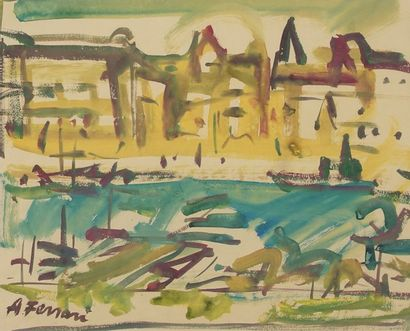 Antoine FERRARI (1910-1995)  le port de Marseille...