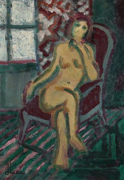 Dominique LECA (1938-)  Nu au fauteuil rouge...