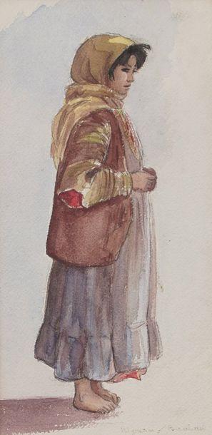 Anne GACON (1913-)  Jeune paysanne  Aquarelle...