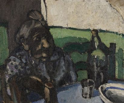 Jean ARENE (1929-)  La vieille dame attablée...