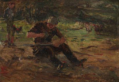 Jospeh FAUST (1868-1934)  Le poulailler  Huile...