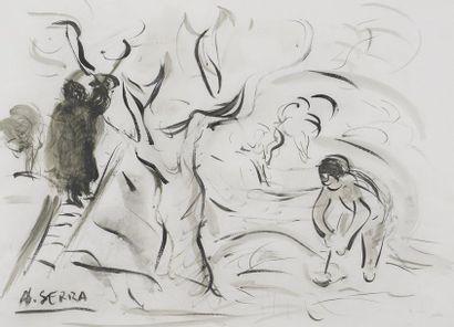 Antoine SERRA (1908-1995)  La cueillette...