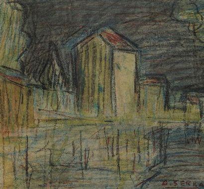 Antoine SERRA (1908-1995)  Village  Crayons...
