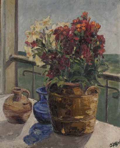 Bouquet de fleurs  Huile sur toile  Signature...