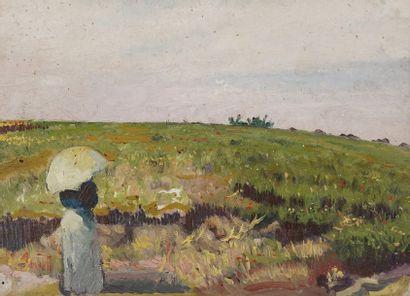 Fernand SALKIN (1862-1914)  Le champ de fleurs...