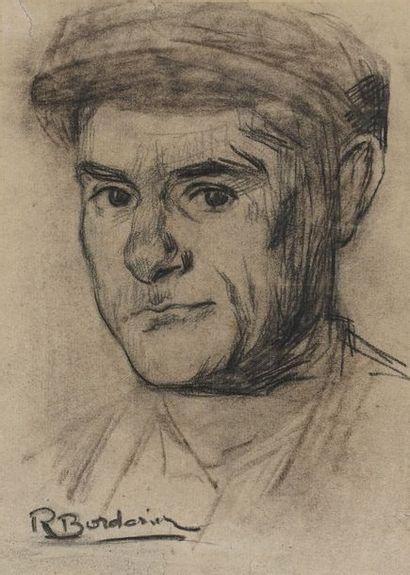 R. BORDONIER  Portrait d'homme à la casquette...