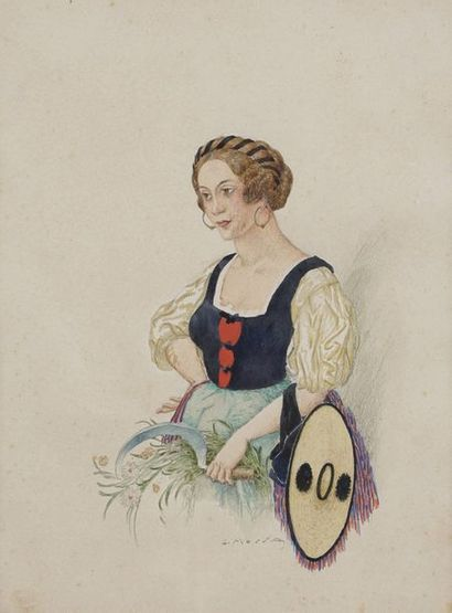 Gustave-Adolphe MOSSA (1883-1971)  La bouquetière...