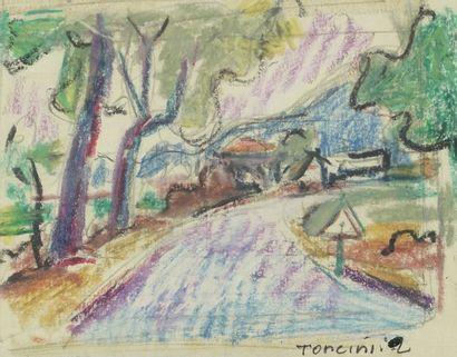 Louis TONCINI (1907-2002)  Le chemin  Dessin...