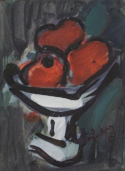 Michel POURTEYRON (1938-2011)  Coupe de fruits...