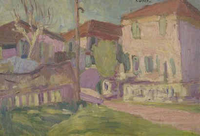 François DIANA (1903-1993)  Village  Huile...