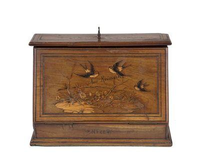 Boite à lettres à décor d'oiseau  Marquée Souvenirs de Nice  Marqueterie de bois...