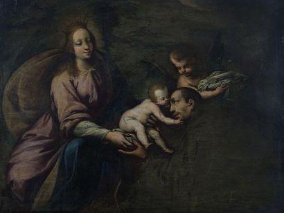 Ecole LOMBARDE vers 1650  La Vierge présentant...