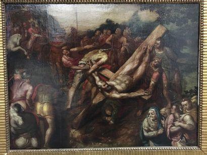 Ecole Italienne d'après Michel-Ange  La crucifixion...