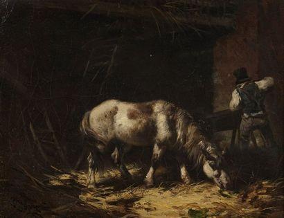 Charles HOGUET (1821-1870)  Cheval et palefrenier...