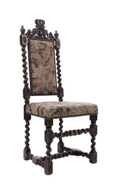 Chaise Troubadour en bois naturel à haut...