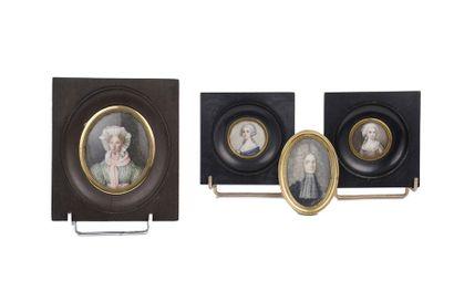 Lot de miniatures sur ivoire  Cerclage  XVIIIe...