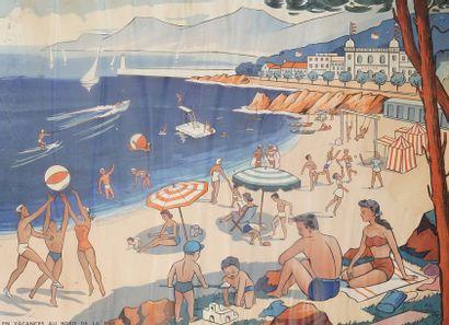 En vacances au bord de la mer  Affiche lithographique...