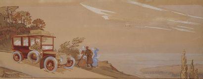 Ernest MONTAUL (1879-?)  Vol d'un dirigeable...