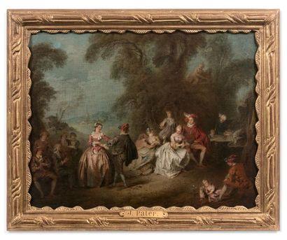 Jean-Baptiste PATER (Valenciennes 1695 - Paris 1736) Scène de bal dans un parc Toile...